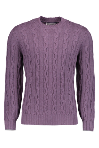 Cable Crewneck Cashmere Sweater Malva
