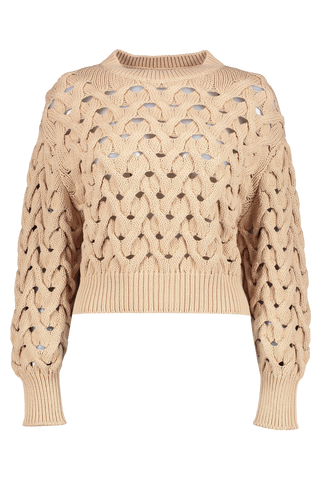 Cable Net Crewneck Pullover Almond