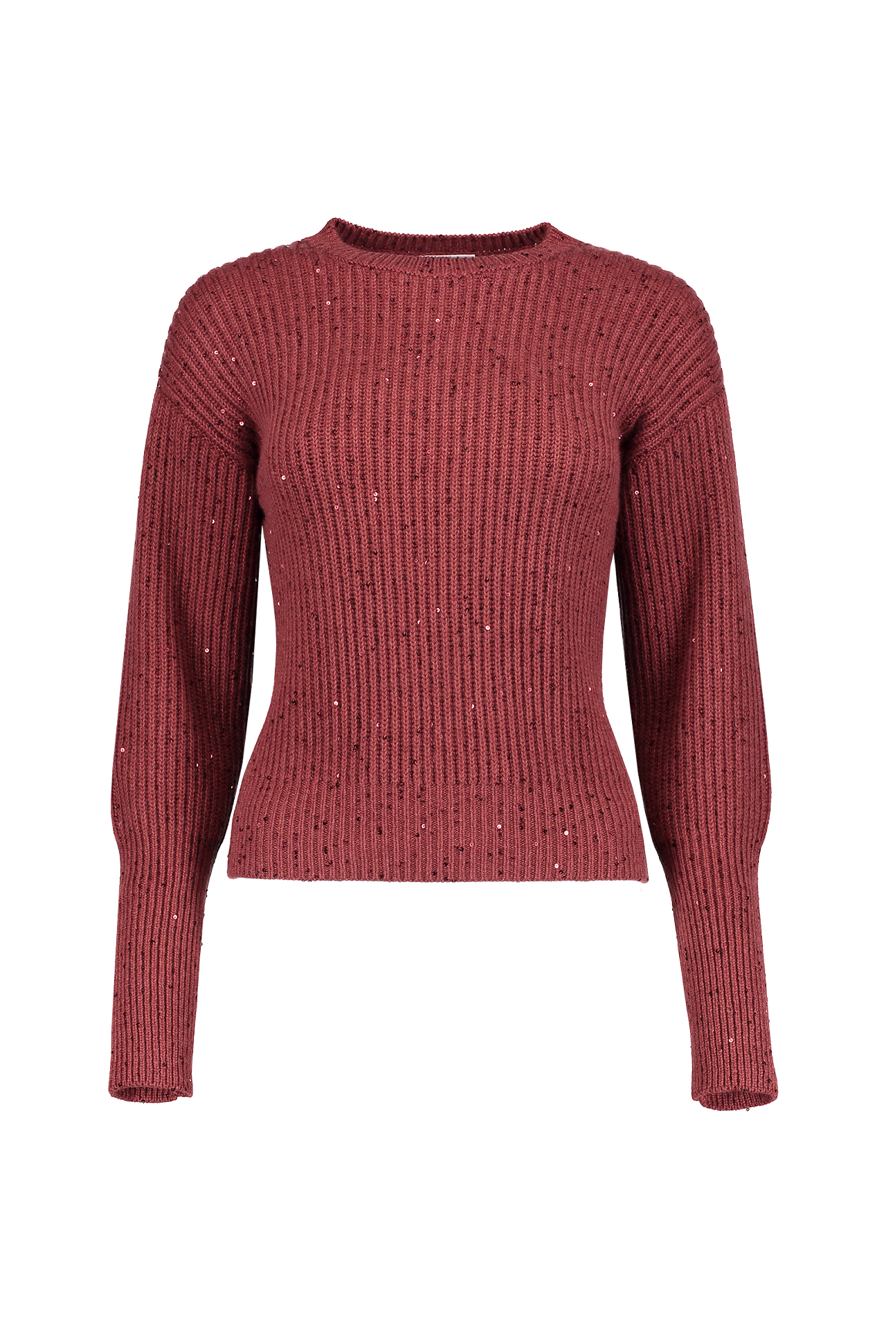 Cash Silk Rib Cropped Silver Sweater In Raisin