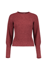 CASH SILK RIB CROPPED SILVER SWEATER RAISIN