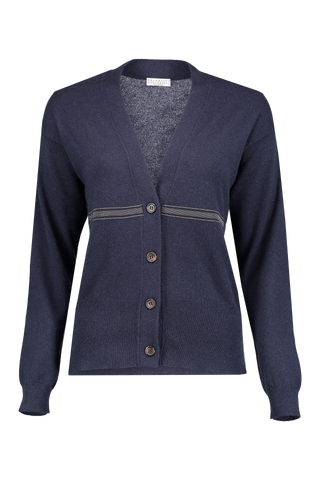 CASHMERE CARDIGAN MONILI STRIPES BLUE NAVY