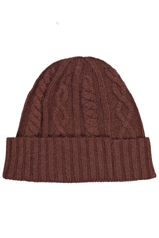 Front view image of Brunello Cucinelli Men's Cashmere Ribbed Beanie Brown