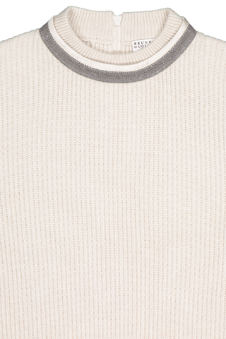 Front collar detail image of Brunello Cucinelli Women's Cashmere Crewneck Monili Collar