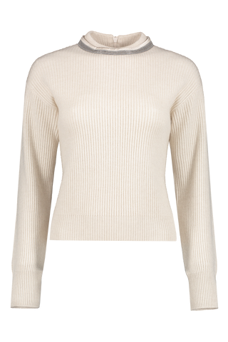 Front image detail of Brunello Cucinelli Women's Cashmere Crewneck Monili Collar