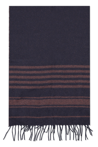 Front detail image of Brunello Cucinelli Men's Cashmere Scarf Navy/Bisonte