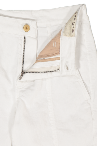 Front Detail Zipper and Button Closure Cotton Cargo Pant White