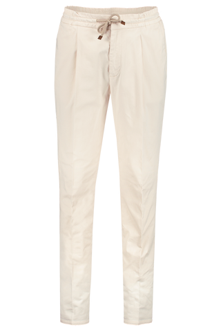 Front view image of Brunello Cucinelli Cotton/Elastic Waist Trouser