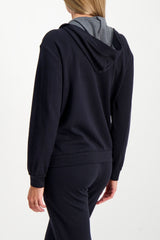 Back Crop Image Of Model Wearing Brunello Cucinelli Women's Cotton Silk Monili Zip Hoodie