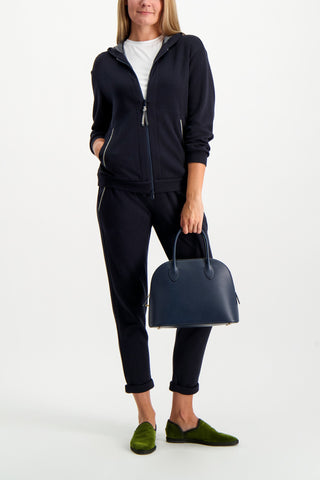 Full Body Image Of Model Wearing Brunello Cucinelli Women's Cotton Silk Monili Zip Hoodie