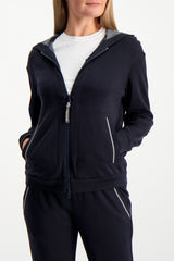 Front Crop Image Of Model Wearing Brunello Cucinelli Women's Cotton Silk Monili Zip Hoodie