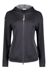 Front view image of Brunello Cucinelli Women's Cotton Silk Monili Zip Hoodie