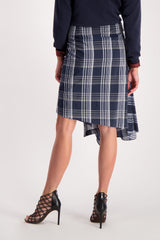 Back Crop Image Of Model Wearing Cucinelli Cotton Silk Plaid Wrap Skirt