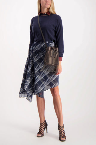 Full Body Image Of Model Wearing Cucinelli Cotton Silk Plaid Wrap Skirt