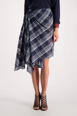 Front Crop Image Of Model Wearing Cucinelli Cotton Silk Plaid Wrap Skirt