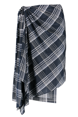 Front Image Cotton Silk Plaid Wrap Skirt