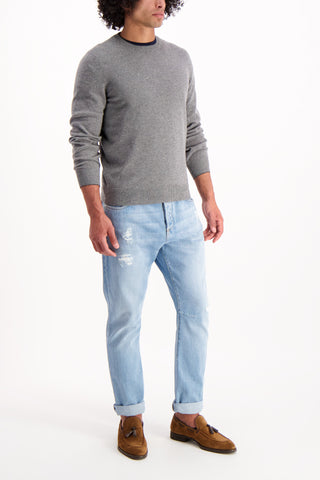 Full Body Image Of Model Wearing Cucinelli Crewneck Sweater Grey