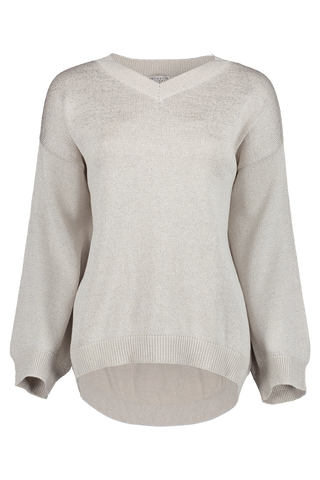 Front view image of Brunello Cucinelli Women's Crewneck Sweater White
