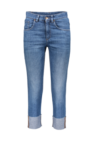 CUFFED DENIM MED WASH