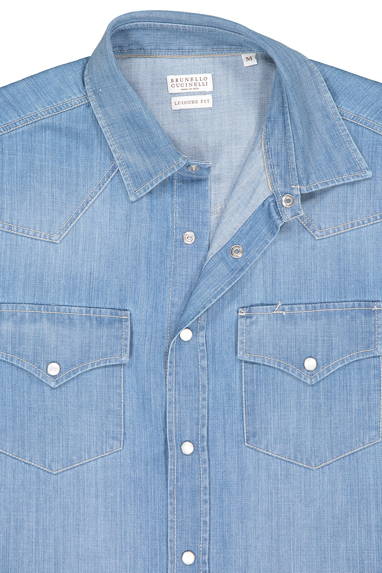 Front collar detail image of Brunello Cucinelli Men's Denim Shirt
