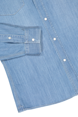Hemline and sleeve detail image of Brunello Cucinelli Men's Denim Shirt