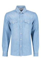 Front image of Brunello Cucinelli Men's Denim Shirt