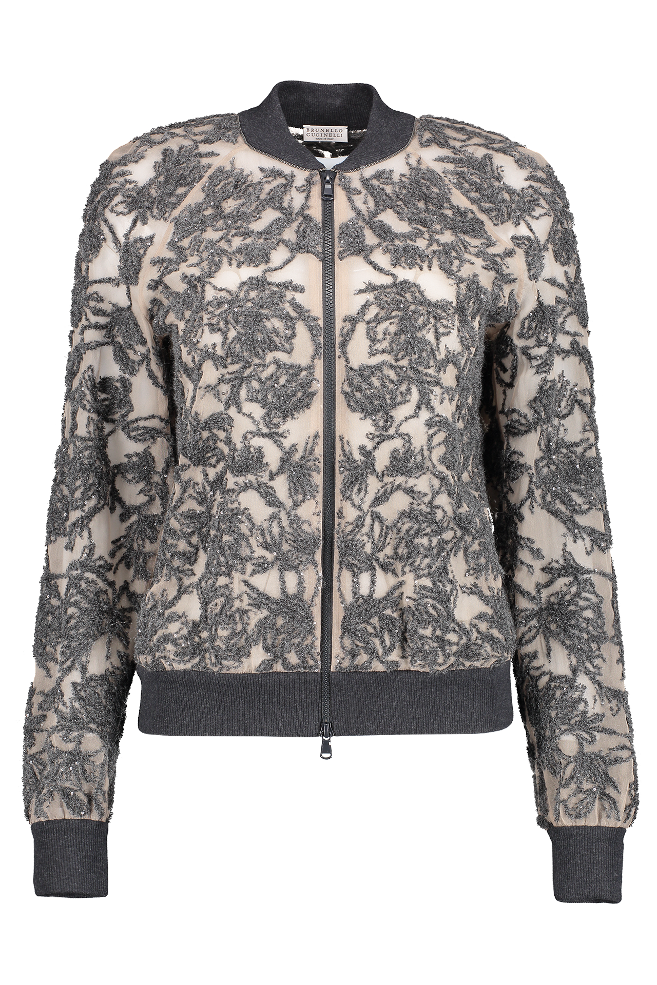 Front view image of Brunello Cucinelli Women's Embroidered Floral Bomber Jacket