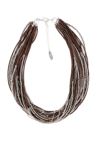 Women's Hematite Brown Wheel Necklace
