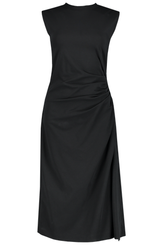 Front view image of Brunello Cucinelli Women's Jersey Ruched Dress Black