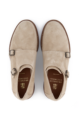 Top view image of Brunello Cucinelli Men's Kudu Suede Loafer Stone