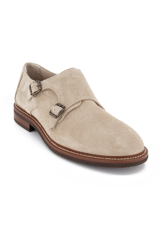Front angled view image of Brunello Cucinelli Men's Kudu Suede Loafer Stone