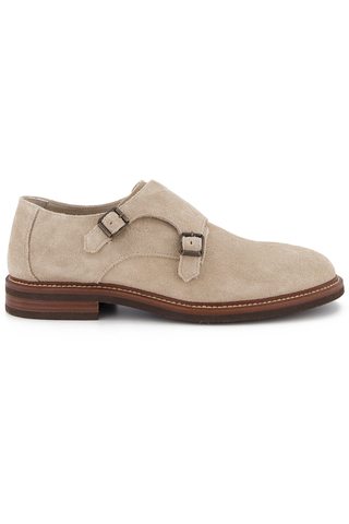 Side view image of Brunello Cucinelli Men's Kudu Suede Loafer Stone