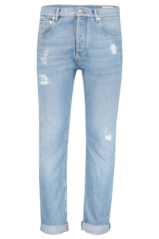 Front Image of Brunello Cucinelli Leisure Fit Denim Distressed Chiarissimo Old