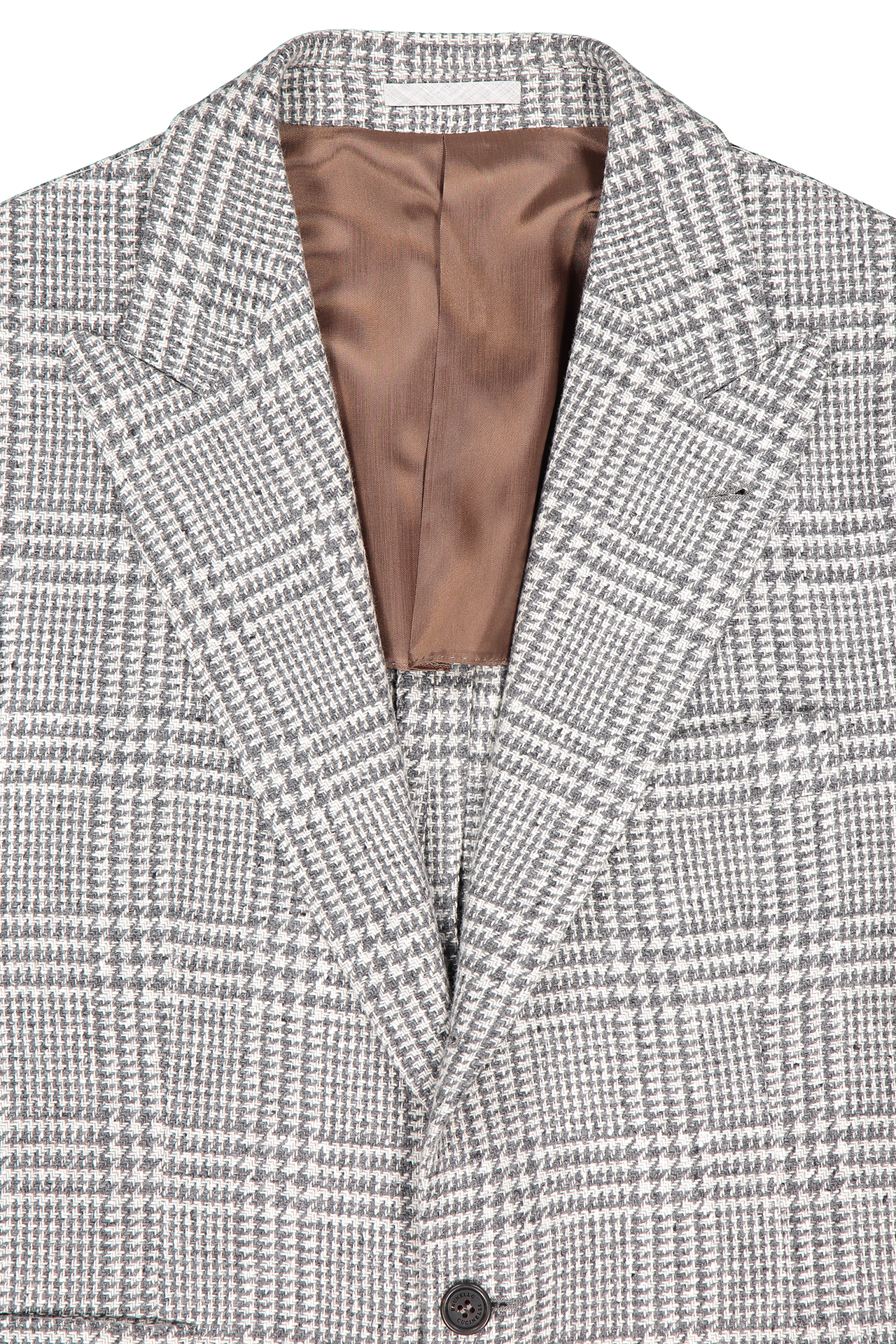 Front collar and lapel detail image of Brunello Cucinelli Men's Light Grey Plaid Sport Coat