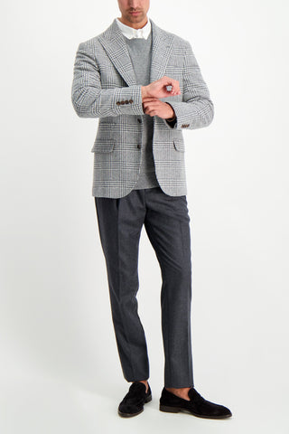 Full Body Image Of Model Wearing Brunello Cucinelli Men's Light Grey Plaid Sport Coat