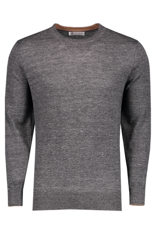 Front Image Linen Cotton Crew Neck Sweater