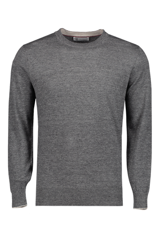 Front view image of Brunello Cucinelli Men's Linen Cotton Crewneck Sweater