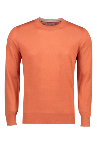 Front view image of Brunello Cucinelli Linen/Cotton Crewneck Sweater