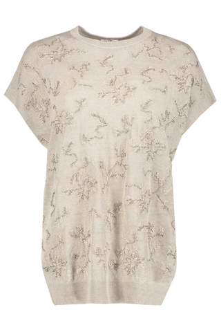 Linen Embroidered Top Beige