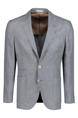 Front view image of Brunello Cucinelli Linen Pinstripe Open Patch Jacket Graphite/Ecru