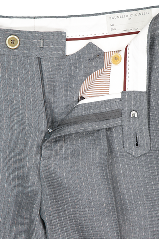 Front zipper and fly detail image of Brunello Cucinelli Linen Pinstripe Suit Separate Grafite/Ecru