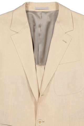 Front collar and lapel detail image of Brunello Cucinelli Linen/Wool/Hopsack Sport Jacket