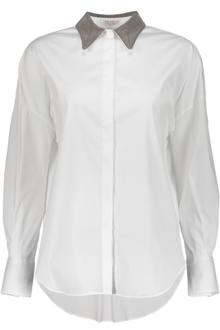Long Sleeve Button Up Blouse Monili Collar In White