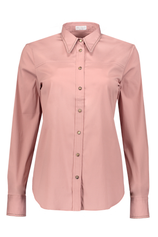 Long Sleeve Button Up Monili Collar Blouse In Rosa