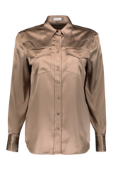 Long Sleeve Button Up Blouse In Nutmeg