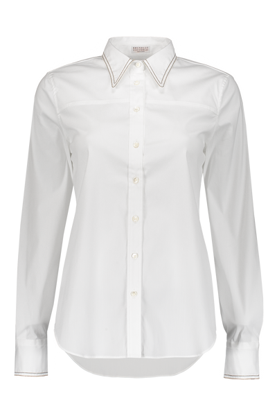 329c7b13a5 Brunello Cucinelli Long Sleeve Button Up Blouse in White