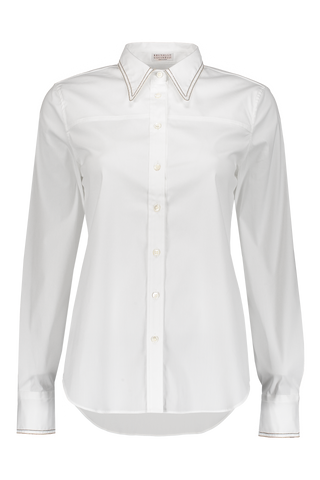 Long Sleeve Button Up Blouse In White