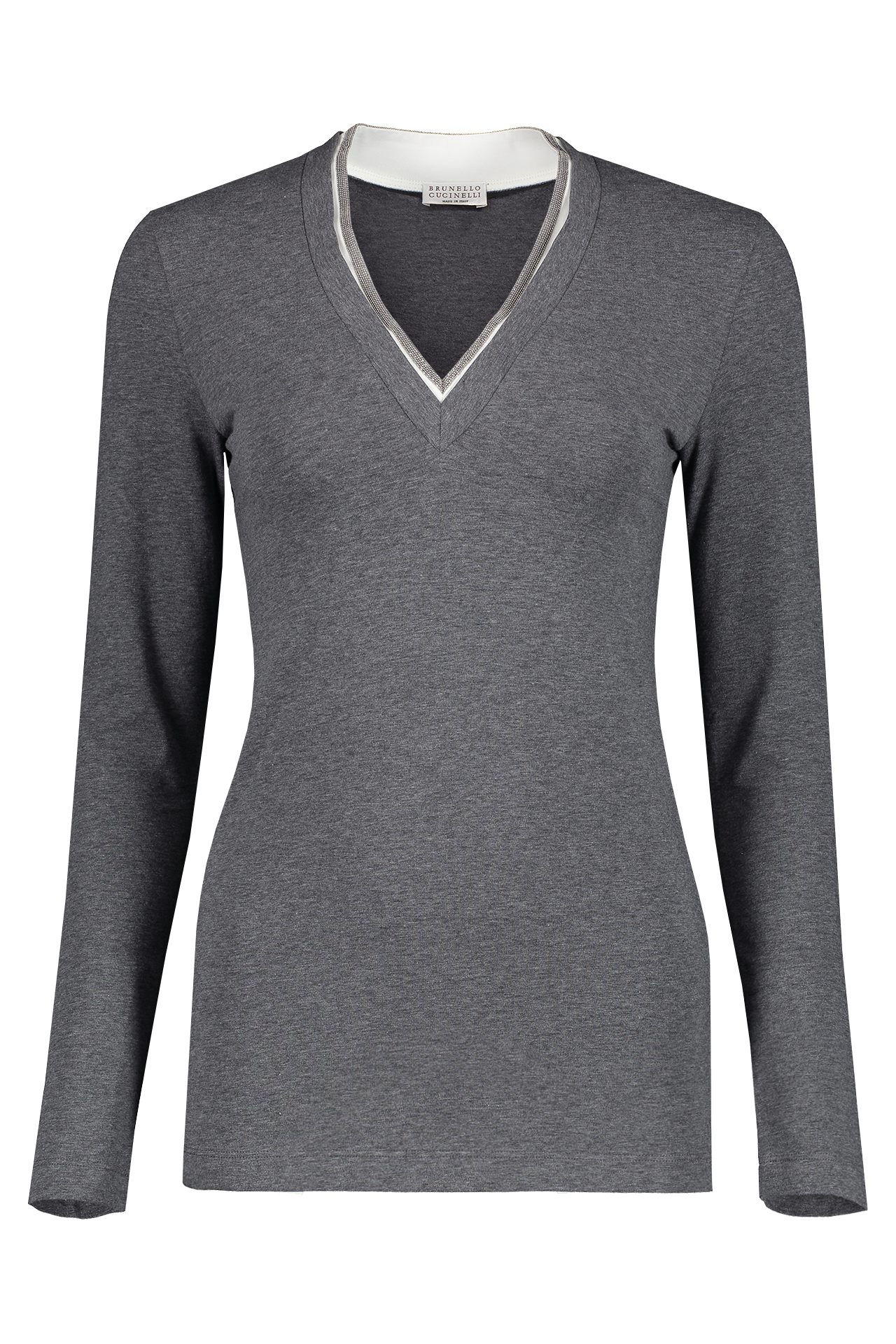 Front view image of Brunello Cucinelli Women's Long Sleeve Monili V-Neck Grey