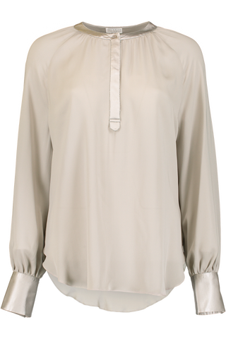 LS SILK HENLEY BLOUSE MONILI TRIM DOVE