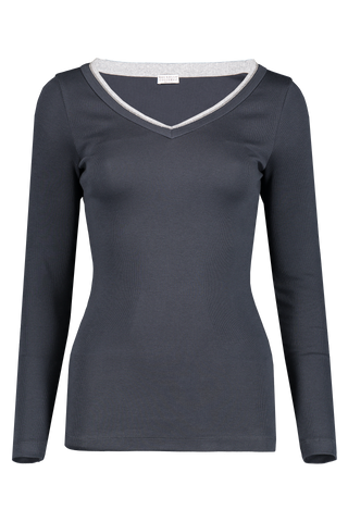 Front view image of Brunello Cucinelli Women's Long Sleeve V-Neck Shirt