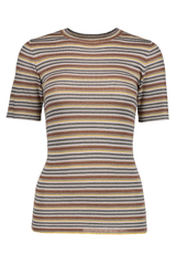 Front Image Lurex Striped Crewneck T-Shirt